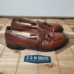 Vtg Stacy Adams Brown Snakeskin Leather Loafers